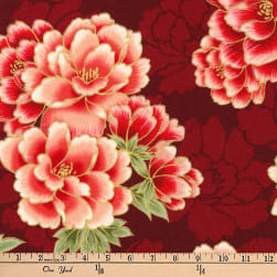 Kaufman Imperial Collection Metallic Flowers Crimson Fabric