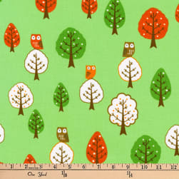 Kaufman Forest Fellows Owls Forest Fabric