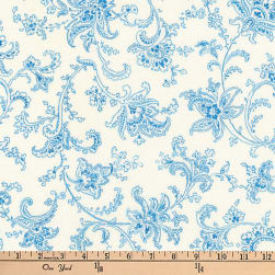Kaufman Victoria Gardens Flower Scroll Sky Fabric
