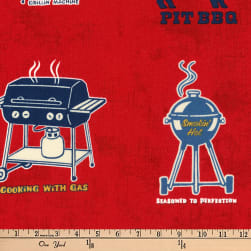 Kaufman Old Guys Rule Let's BBQ Red Fabric