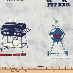 Kaufman Old Guys Rule Let's BBQ Grey Fabric