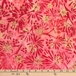 Kaufman Batiks Metallic Northwood Leaf Spray Cranberry Fabric