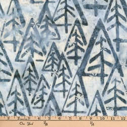 Kaufman Batiks Metallic Noel Geo Trees Snow Fabric