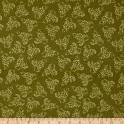 Vintage Tonal Grapes Green Fabric
