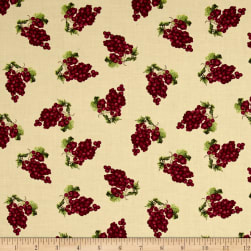 Vintage Tossed Grape Clusters Ecru Fabric