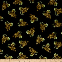 Vintage Tossed Grape Clusters Black Fabric