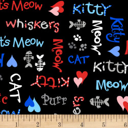 The Cat's Meow Cat Words Black