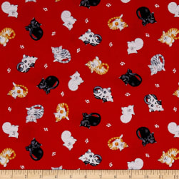 The Cat's Meow Mini Tossed Cats Red