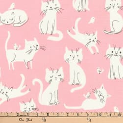 Kaufman Whiskers and Tails Kitties Pink Fabric