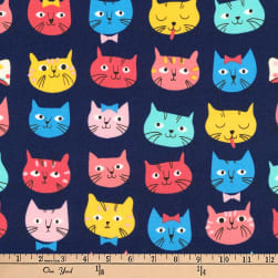 Kaufman Whiskers and Tails Cat Faces Navy Fabric