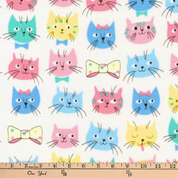 Kaufman Whiskers and Tails Cat Faces Pastel Fabric