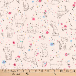 Kaufman Whiskers and Tails Kittie Fun Pink Fabric