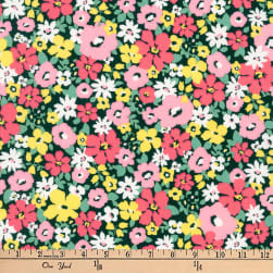 Kaufman Flora Flower Bunch Pink Fabric