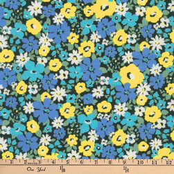 Kaufman Flora Flower Bunch Blue Fabric