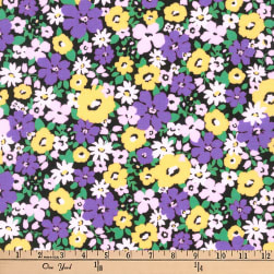 Kaufman Flora Flower Bunch Purple Fabric