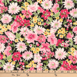 Kaufman Flora Flower Spray Pink Fabric