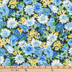 Kaufman Flora Flower Spray Blue Fabric