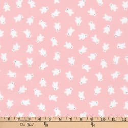 Kaufman Mini Prints Bears Pink Fabric
