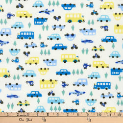 Kaufman Mini Prints Cars Ivory Fabric