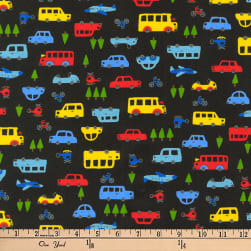 Kaufman Mini Prints Cars Black Fabric