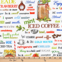 Kaufman Everyday Favorites Digital Tea Words White Fabric