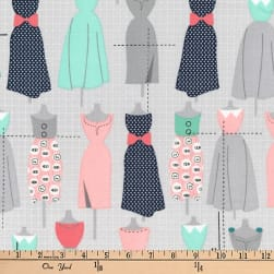 Kaufman Sew Dressed Up Dresses Seafoam Fabric