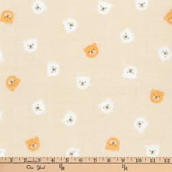 Kaufman Comfy Double Gauze Bears Tan Fabric
