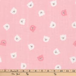 Kaufman Comfy Double Gauze Bears Pink Fabric