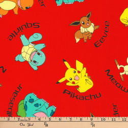 Kaufman Pokemon Characters Red Fabric