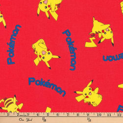 Kaufman Pokemon Scattered Red Fabric