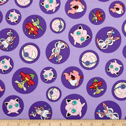 Kaufman Pokemon Bubbles Purple Fabric