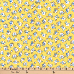 Kaufman Dolly Jean Small Flowers Yellow Fabric