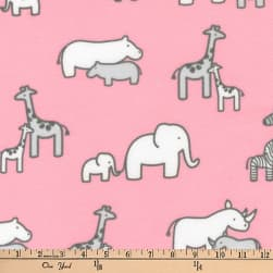 Kaufman Little Safari Flannel Collage Pink Fabric