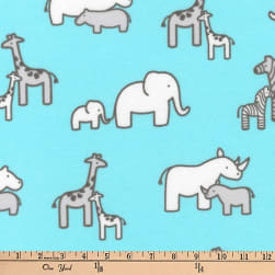 Kaufman Little Safari Flannel Collage Aqua Fabric