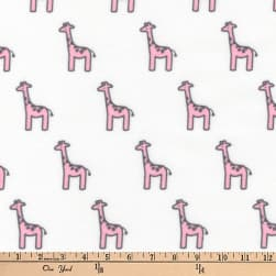 Kaufman Little Safari Flannel Giraffes Pink