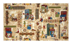 Coffee Escapes Scene Tan Fabric