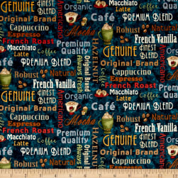 Coffee Escapes Words Blue