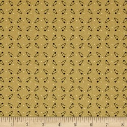 Primitive Stitches Safety Pins Gold Fabric