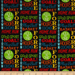 Good Sports Sports Words Black Fabric
