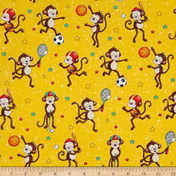 Good Sports Playing Monkeys Yellow Fabric