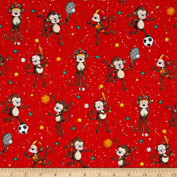 Good Sports Playing Monkeys Red Fabric