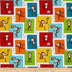 Good Sports Patchwork Monkeys Multi Fabric