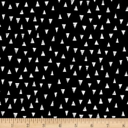 Monochrome Triangles Black Fabric