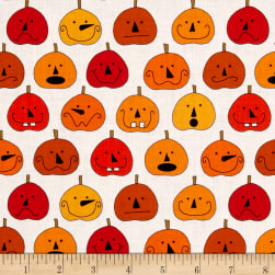 Fright Night Pumpkins White Fabric