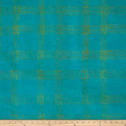 Alison Glass Handcrafted Batiks Chroma Plaid Turquoise Fabric