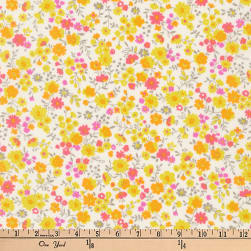 Kaufman Petite Garden Floral Spray Sunshine Fabric