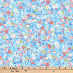 Kaufman Petite Garden Floral Spray Sky Fabric