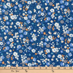 Kaufman Petite Garden Floral Spray Blue Fabric