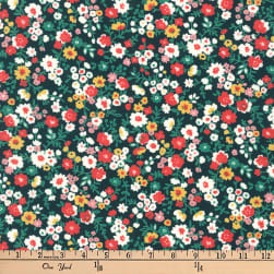 Kaufman Petite Garden Floral Spray Black Fabric