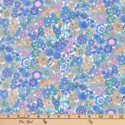 Kaufman Petite Garden Flower Bunch Periwinkle Fabric